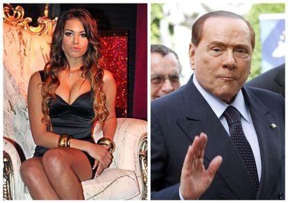 La marroquí Karima El Mahroug, Rubi Rompecorazones, y el expresidente Silvio Berlusconi