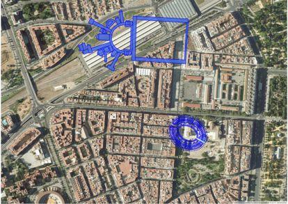 Superposición sobre una imagen de Google de la estación de Córdoba del palacio imperial y un anfiteatro cercano.