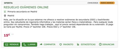Captura de imagen de la web Mil Anuncios donde una estudiante se ofrece a hacer exámenes