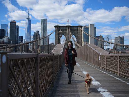 Una mujer pasea a su mascota en el puente de Brooklyn, este miércoles.
