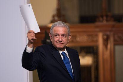 Andrés Manuel López Obrador, Presidente de México, durante la conferencia matutina en Palacio Nacional.