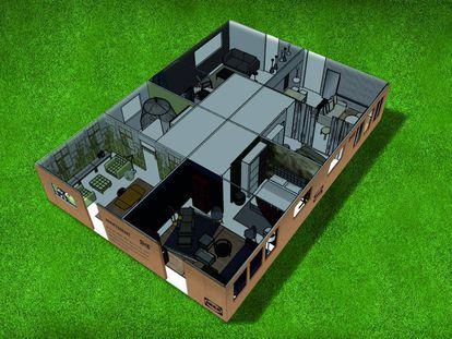 Un render del bloque que ocupan los cuatro apartamentos, todos con vistas al mar y una zona de descanso.  