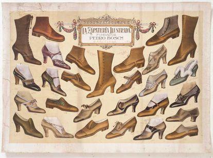 Un escaparate parece este cartel, del año 1873, de una zapatería de Madrid.
