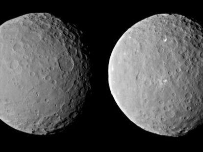 Imágenes del planeta enano Ceres tomadas por la nave `Dawn´, el pasado 19 de febrero, desde una distancia de unos 46.000 kilómetros.