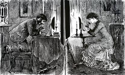 Así se imaginaba el caricaturista británico George du Maurier en 1880 cómo se podría usar el móvil para ligar. Angelito...