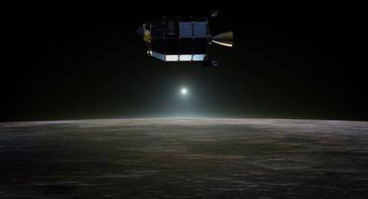 Recreación de la nave LADEE sobre la Luna.
