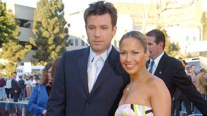 Jennifer Lopez y Ben Affleck en el estreno de 'Daredevil' en febrero de 2003.