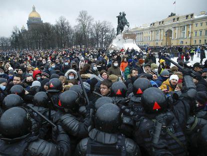 Manifestación en apoyo a Alexéi Navalni, este sábado en San Petersburgo.