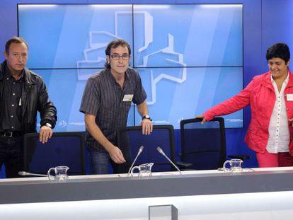 Representantes de EH Bildu en la rueda de prensa del Parlamento.