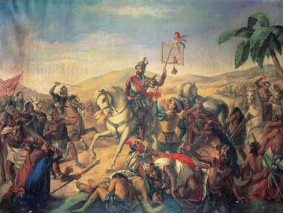 Hernán Cortés en la batalla de Otumba, pintura de autor desconocido, en el Museo del Ejército de Madrid.