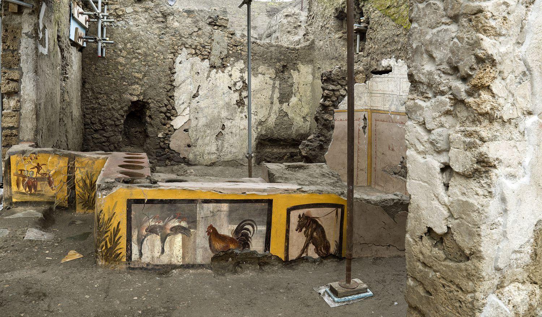 Los restos del 'termopolio' encontrado en Pompeya.