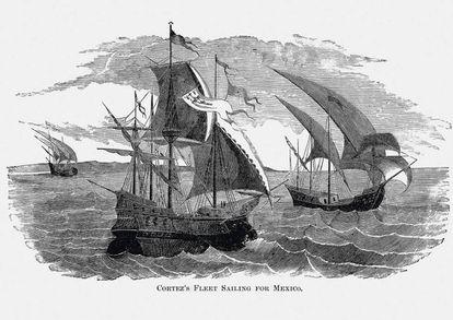 Recreación de la expedición  de Hernán Cortés hacia México.