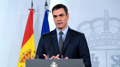 El presidente del Gobierno, Pedro Sánchez, durante su comparecencia del pasado 30 de marzo.