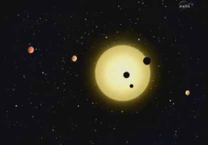 Dibujo del nuevo sistema planetario descubierto por el telescopio <i>Kepler</i>.