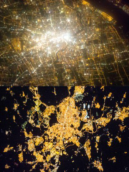 Imágenes de Shanghái (superior) y Madrid (inferior) provenientes de la ISS utilizadas en Cities at Night