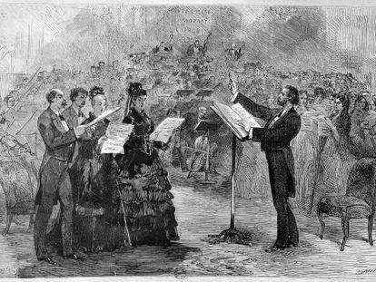 Grabado en el que aparece Verdi dirigiendo una misa en la Ópera Cómica de París.