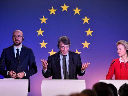 El presidente del Consejo Europeo, Charles Michel; el del Parlamento, David Sassoli, y la presidenta de la Comisión, Ursula von der Leyen.