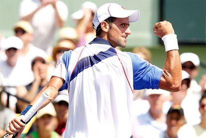 Djokovic celebra el triunfo contra Nadal.