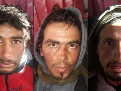Rachid Afatti, Ouziad Younes y Ejjoud Abdessamad, de izquierda a derecha, los tres sospechosos del asesinato de las dos escandinavas detenidos.