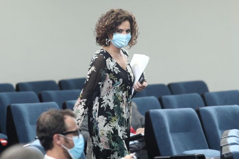 La ministra portavoz y de Hacienda, María Jesús Montero, antes de comparecer en rueda de prensa posterior al Consejo de ministros.