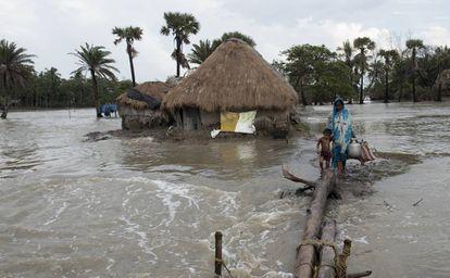 Inundaciones en la isla india de Mousuni.