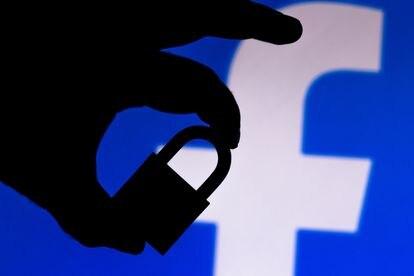 Una ilustración del logotipo de Facebook y un candado.
