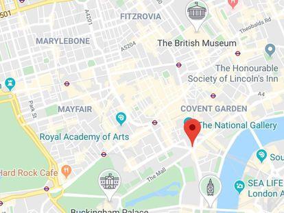 Imagen del mapa de Londres con la app Google Maps y sus nuevos iconos de puntos de interés turístico.