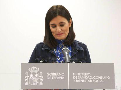 Carmen Montón, durante el anuncio de su dimisión como ministra de Sanidad.