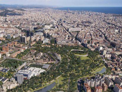 Propuesta Nou Parc de ON-A para la reforma del Camp Nou y la renaturalización de Barcelona.  