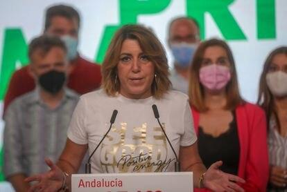 La secretaria general del PSOE-A, Susana Díaz, perdedora en las primarias recientes del partido en su región, en rueda de prensa el domingo en Sevilla.