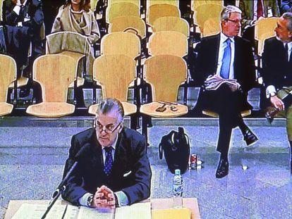 Luis Bárcenas, durante su declaración en la Audiencia Nacional por el juicio de trama Gürtel.