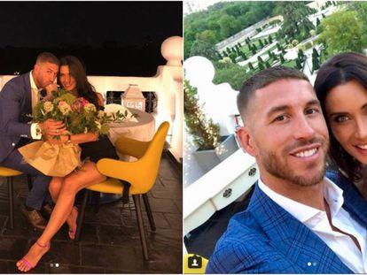Sergio Ramos y Pilar Rubio en las dos imágenes que han compartido en sus cuentas de Instagram para anunciar su compromiso.