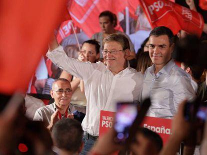 El presidente del Gobierno en funciones, Pedro Sánchez, y el presidente de la Generalitat Valenciana, Ximo Puig.
