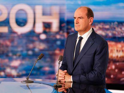 El primer ministro francés, Jean Castex, durante su intervención televisiva.