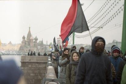 Protesta en Moscú contra la reelección de Putin en marzo de 2012.