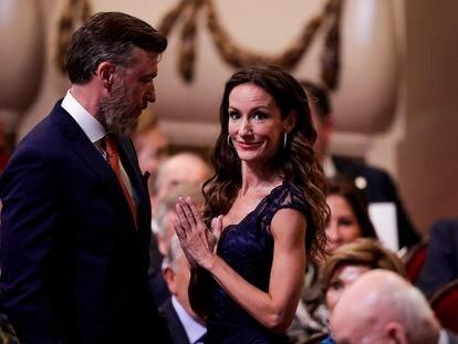 Telma Ortiz, con su pareja Robert Gavin Bonnar, durante la entrega de los premios Princesa de Asturias, en 2019.