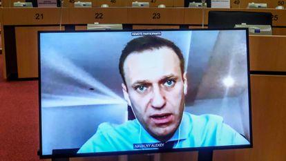 Alexéi Navalni participa por videoconferencia en una sesión de la comisión de Asuntos Exteriores del Parlamento Europeo, en noviembre.