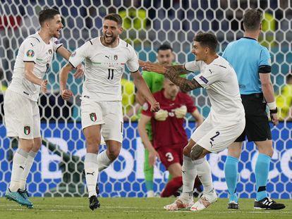 Immobile celebra su gol ante Turquía este viernes en el Olímpico de Roma.