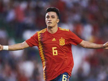 Manu García celebra su gol ante Alemania.