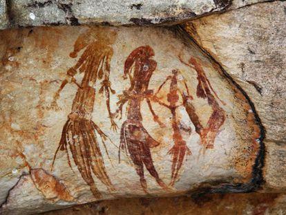 Pinturas rupestres encontradas en la región de Kimberley, Australia, que ilustran seres humanos del Pleistoceno. Datan de hace unos 25.000 años.