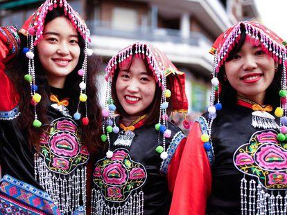 Celebración del año nuevo chino en el barrio de Usera de Madrid.