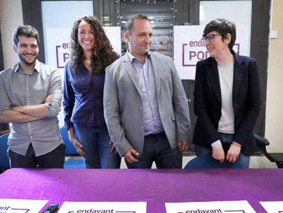 Pilar Lima, primera por la derecha, con Rubén Martínez Dalmau, en el centro, Beatriz Gascó y Antonio Estañ, en febrero de 2020.