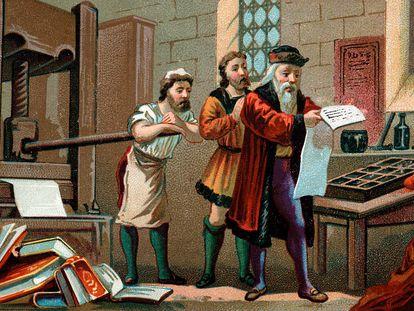 """Ilustración de """"Johannes Gutenberg imprimiendo la primera hoja de la Biblia"""""""