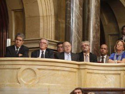 Francesc Homs, Xavier Trias y Jordi Pujol, durante el discurso de Artur Mas.