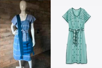 Un vestido confeccionado por indígenas mixtecos de Oaxaca (izquierda) y uno muy similar de la marca española Zara (derecha).