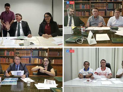 Arriba a la izquierda, el presidente Bolsonaro se dirige al indígena Arnaldo (de pie) en la retransmisión en directo de este jueves. Y otras transmisiones en vivo con ministros o altos cargos.