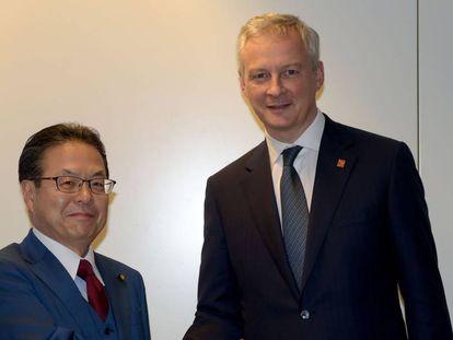El ministro japonés de Economía, Hiroshige Seko, y su par francés, Bruno Le Maire, la semana pasada en París