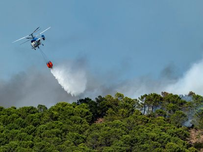 Labores de extinción del incendio forestal de Sierra Bermeja que ha afectado a cuatro municipios de la provincia de Málaga.