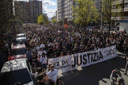 Manifestación en Pamplona en apoyo a los procesados por agredir a dos guardia civiles y sus parejas en Alsasua.