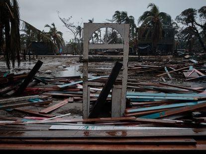 Un barrio de Bilwi (Nicaragua), destruido por el huracán Iota.